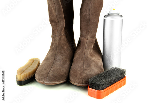 Set of stuff for cleaning and polish shoes, isolated on white