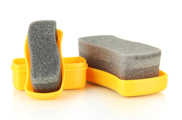 Shoe shine sponges, isolated on white