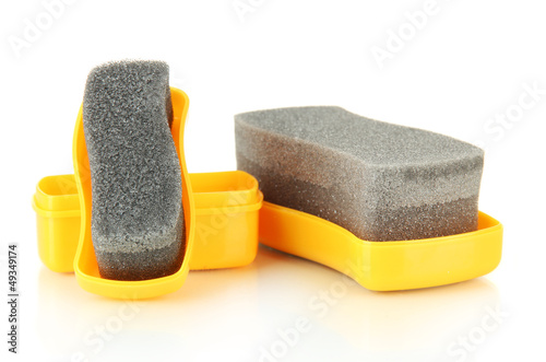 Shoe shine sponges, isolated on white