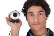 Man holding web-cam