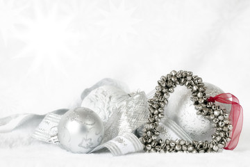 Heart Shaped Christmas Bells over white