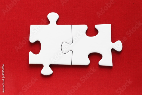 canvas print picture Jig Saw Puzzle - Two Pieces on Red