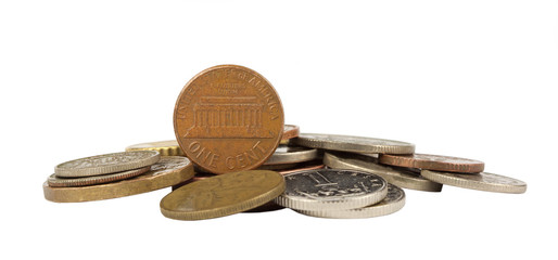 One cent american and other coins isolated