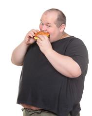 Fat Man Greedily Eating Hamburger