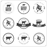 Fototapety Set of premium beef labels, badges and design elements