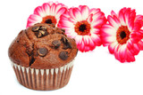 Chocolate muffin and flowers