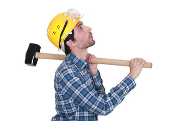 Whistling construction worker