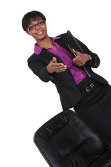 businesswoman stretches out her hand to shake hands