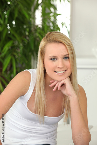 Portrait of blonde teen