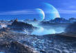 Blue Planets in Orbit over Mountains and Lakes