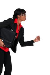 Businesswoman in running