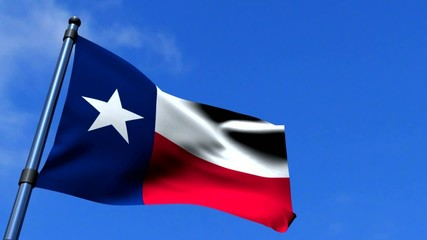 Texas State Flag Fluttering On Blue Sky HDTV