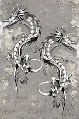 Tattoo art illustration, dragons over wall