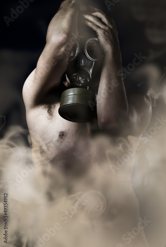 Suffering, naked man with gas mask, retro