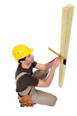 Carpenter marking wood