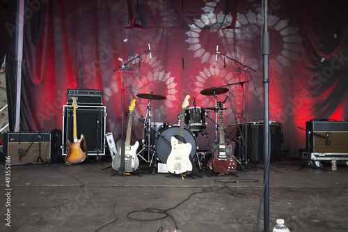 instruments on  stage ready to rock