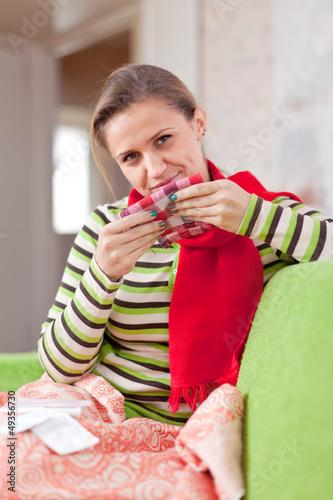 Poster sick woman uses handkerchief