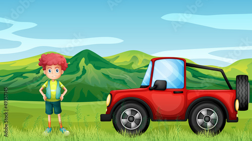 Poster Cars A red jeepney and a boy in the hills