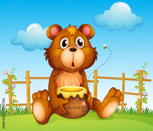 A bear with honey pot and honey bee