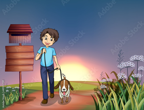 A man walking with his dog