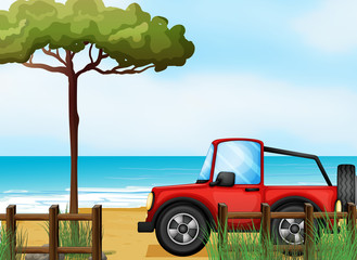 A red jeepney at the beach