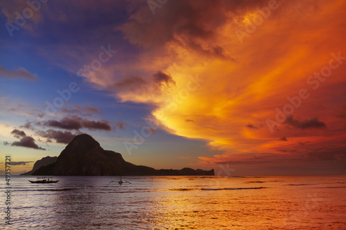 El Nido bay, sunset, Philippines
