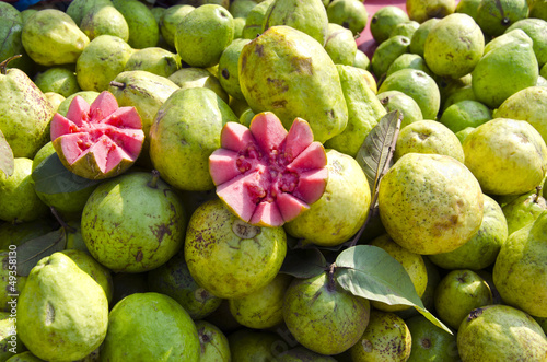 fresh guava fruits in street market Delhi, India