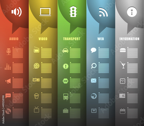 Color paper banners with different icons