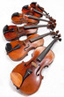 different sized fiddles close up