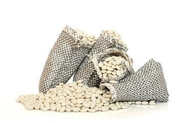 white beans in sacks