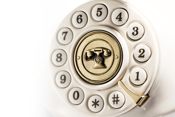 Rotary dial of a vintage telephone