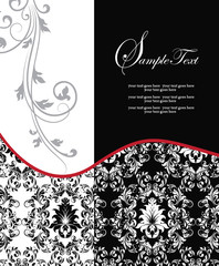red elegant damask wedding invitation
