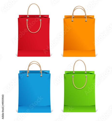 Shopping bags orange, blue, green and red