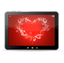 Black tablet like Ipade on white background ang heart on red