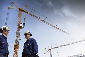 construction, workers and building-site