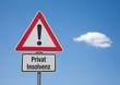 Achtung Schild mit Wolke PRIVAT INSOLVENZ