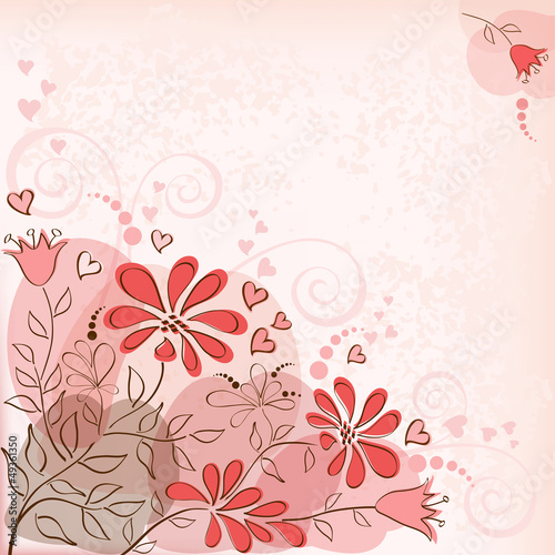 Floral background. Red .