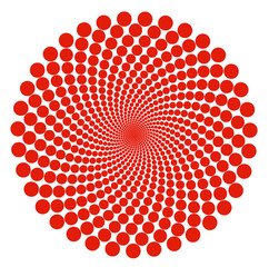 Red dot spiral abstract pattern circles over white background