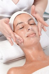 Facial massage at beautician