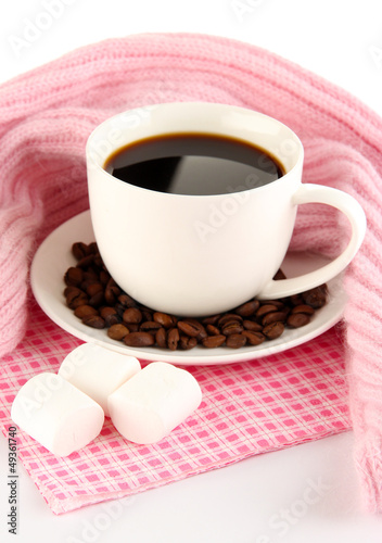 cup of coffee with scarf isolated on white