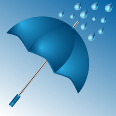 umbrella of blue color and raindrops