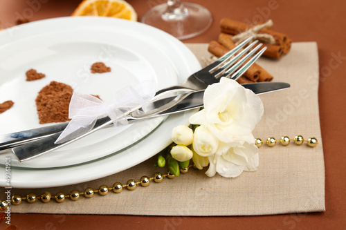 Holiday table setting close-up