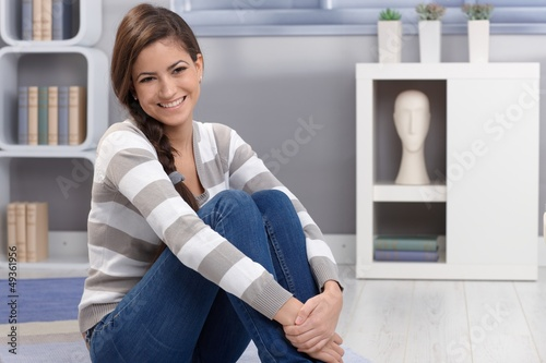Portrait of charming young beauty smiling