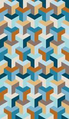 Seamless Pattern Cubes 3D Retro