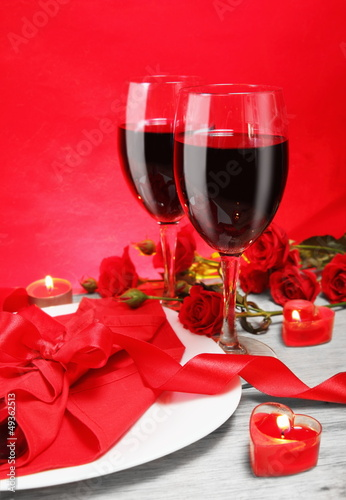 Romantic Candlelight Dinner for Two in Red