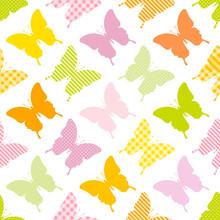 Seamless Pattern Butterflies Stripes/Dots/Check Green