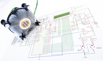 CPU cooler with electronic diagram