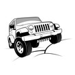Monochrome detailed cartoon off-road jeep climbing rocks