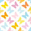 Seamless Pattern Butterflies Stripes/Dots/Check Blue