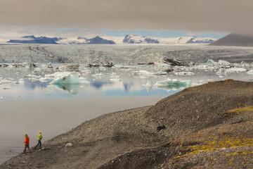 Jokulsarlon lagoon - Iceland. In background vatnajokull Glacier.